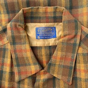 1960's vintage Pendleton plaid wool shirt - size L